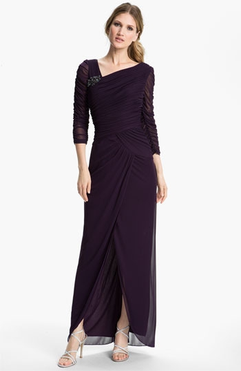 Adrianna Papell Sheer Sleeve Ruched Gown