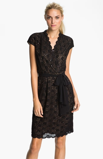 Alex Evenings Scalloped Lace Surplice Dress