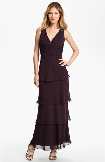 Alex Evenings Tiered Chiffon Gown