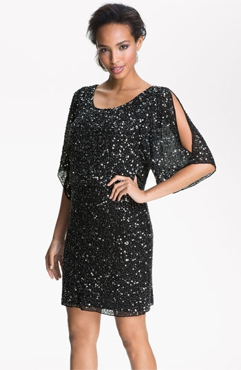 Pisarro Nights Split Sleeve Sequin Silk Chiffon Dress