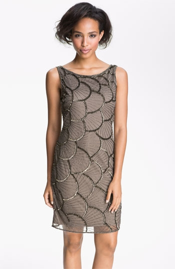 Pisarro Nights Scalloped Bead Mesh Dress