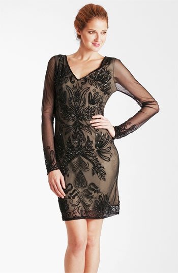 JS Collections Embroidered Sheer Sleeve Mesh Dress