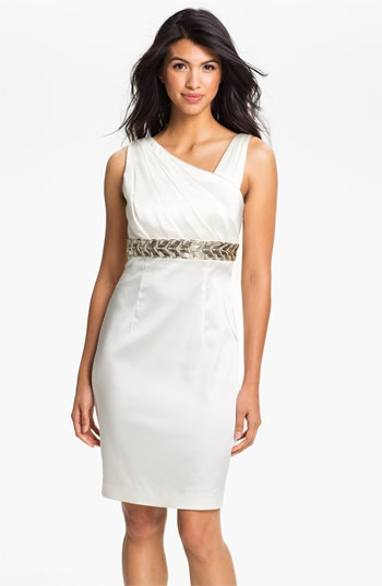Calvin Klein Beaded Waist Satin Sheath Dress