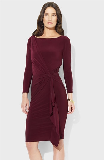 Lauren Ralph Lauren Front Knot Jersey Sheath Dress