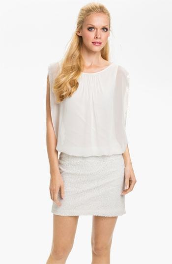 Aidan Mattox Draped Sequin & Chiffon Blouson Dress