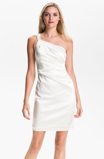 Calvin Klein One Shoulder Satin Sheath Dress