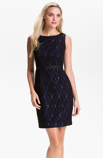 Calvin Klein Sleeveless Lace Overlay Sheath Dress