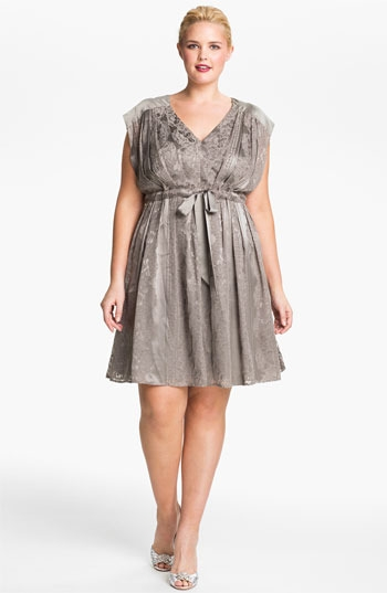 Jessica Simpson Lace Print Satin Dress (Plus)