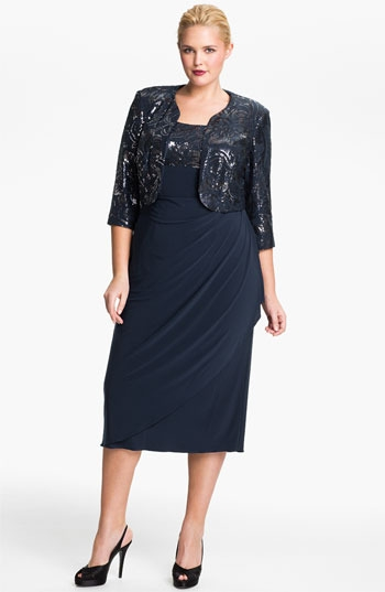 Alex Evenings Sequin Faux Wrap Dress & Jacket (Plus)