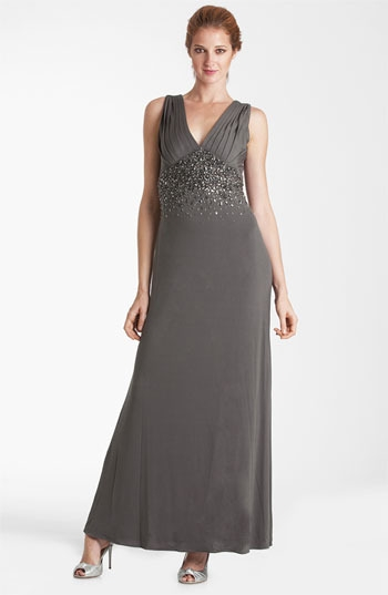 JS Boutique Double-V Embellished Jersey Gown