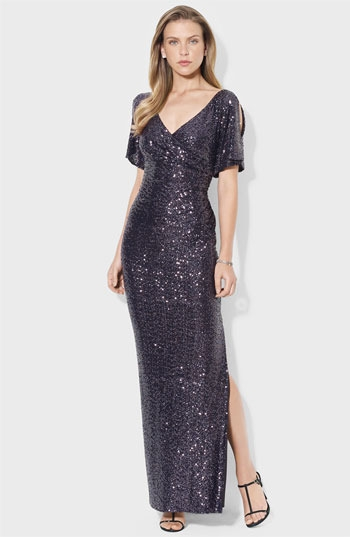 Lauren Ralph Lauren Split Sleeve Sequin Gown