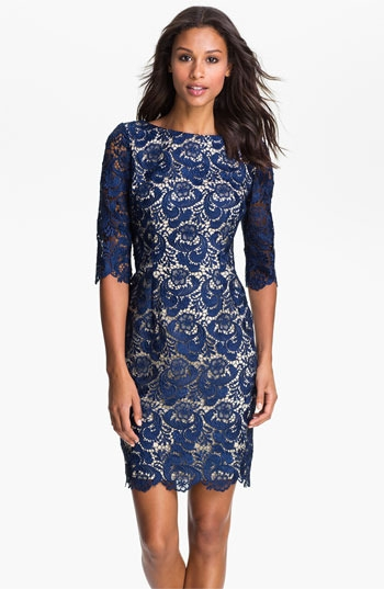 Eliza J Embroidered Lace Overlay Shift Dress