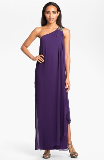 Calvin Klein One Shoulder Draped Chiffon Gown