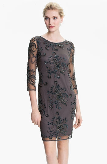 Pisarro Nights Embellished Sheer Sleeve Tulle Dress