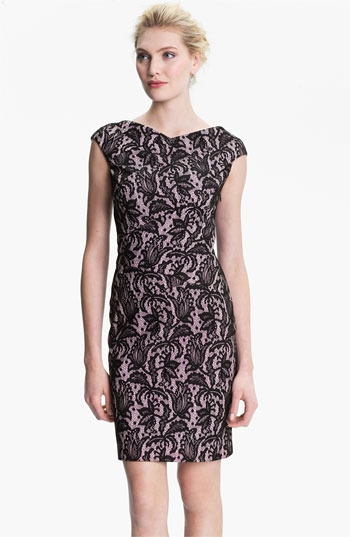 Kay Unger V-Back Lace Jacquard Sheath Dress