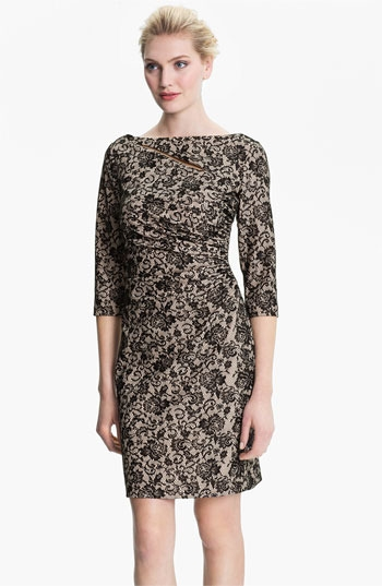 Kay Unger V-Back Ruched Lace Jacquard Dress