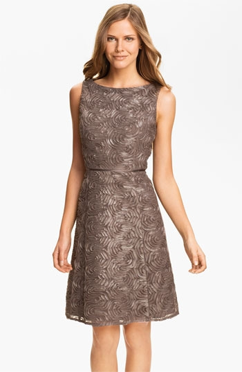 Adrianna Papell Metallic Soutache Fit & Flare Dress