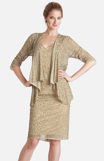 JS Collections Embellished V-Neck Chiffon Dress & Jacket
