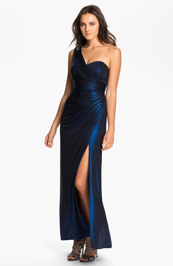Xscape One Shoulder Ruched Jersey Gown