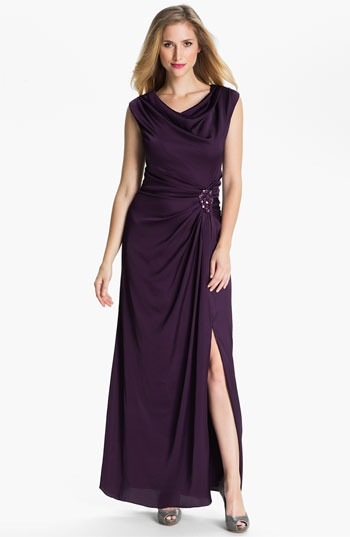 Patra Cowl Neck Side Slit Satin Gown