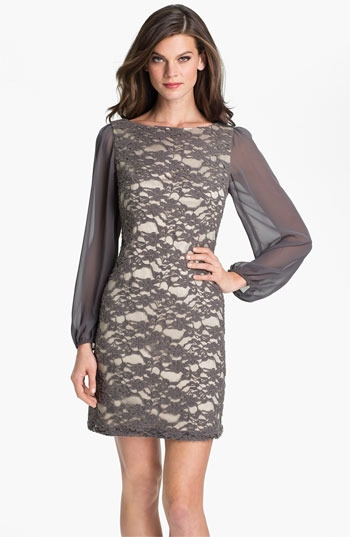 Eliza J Bell Sleeve Lace Overlay Sheath Dress