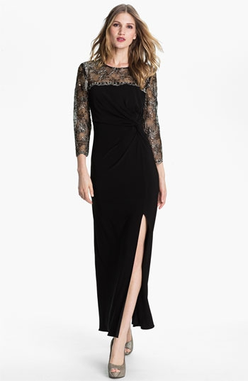 Alex Evenings Metallic Lace & Jersey Column Gown