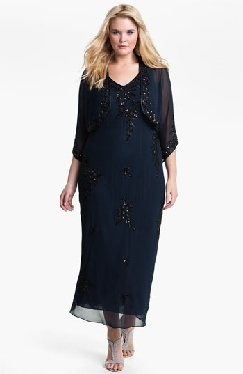 J Kara Beaded Chiffon Dress & Jacket