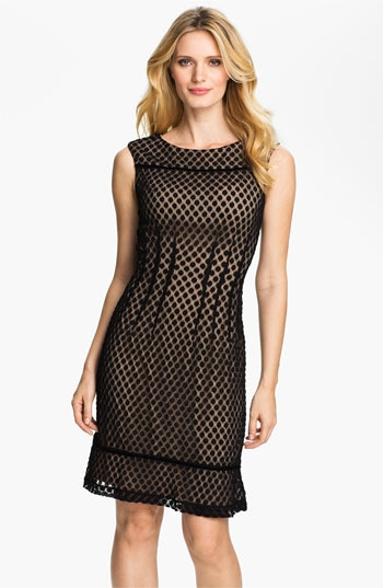 Adrianna Papell Sleeveless Dot Mesh Overlay Dress