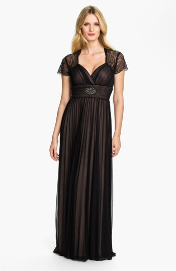 Betsy & Adam Lace Sleeve Pleated Mesh Gown