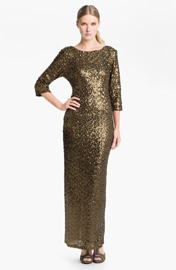 Alberto Makali Open Back Elbow Sleeve Sequin Gown