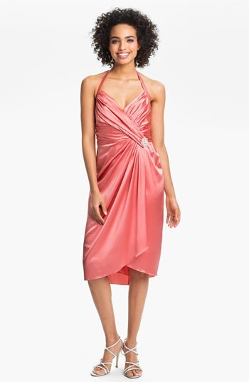 Suzi Chin for Maggy Boutique Ruched Charmeuse Halter Dress