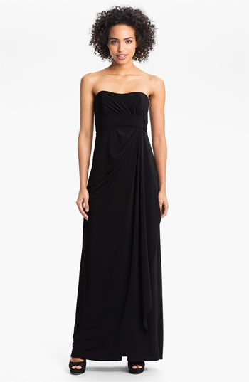 Amsale Strapless Draped Jersey Gown