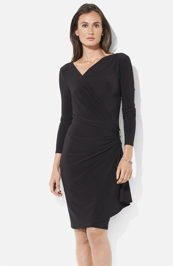 Lauren Ralph Lauren Side Pin Ruched Jersey Dress