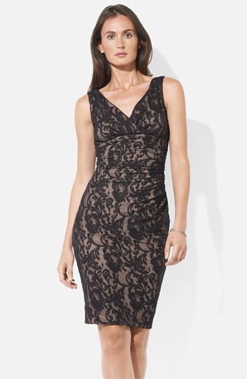 Lauren Ralph Lauren V-Neck Lace Sheath Dress