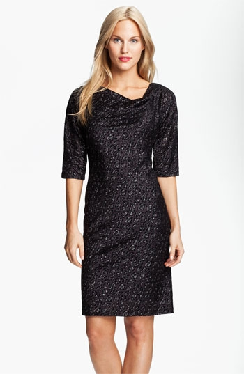 Adrianna Papell Cowl Neck Metallic Jacquard Dress