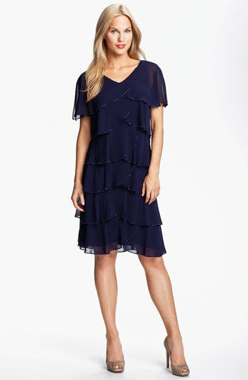 Patra Beaded Edge Layered Chiffon Dress