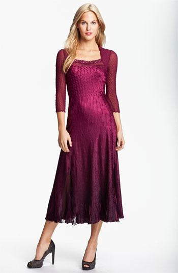 Komarov Sheer Sleeve Textured Charmeuse Dress