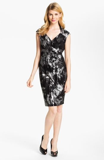 Ellen Tracy Abstract Print V-Neck Sheath Dress