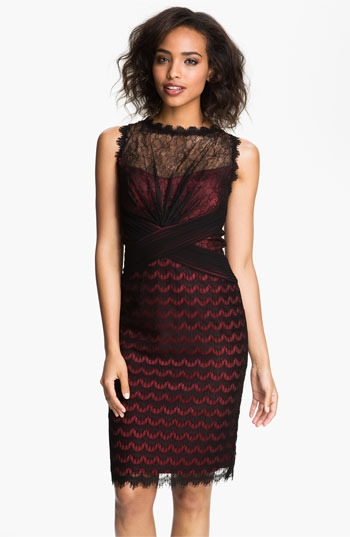 Tadashi Shoji Illusion Yoke Scalloped Lace Overlay Dress