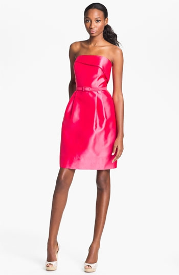 Eliza J Strapless Foldover Faille Tulip Dress