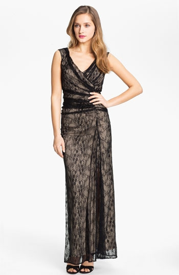 Wyton V-Neck Ruched Lace Overlay Gown
