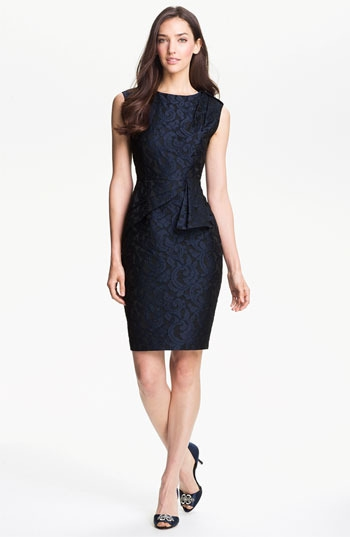 Adrianna Papell Side Peplum Jacquard Sheath Dress