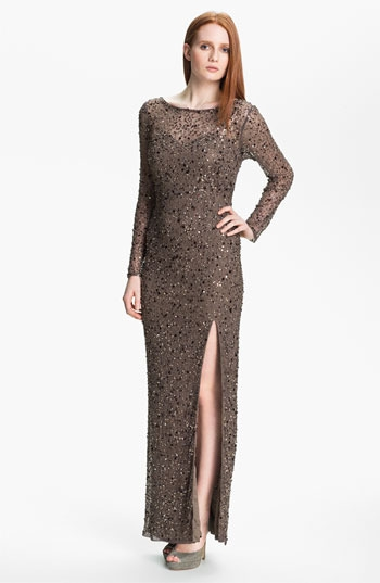 Patra Long Sleeve Side Slit Embellished Tulle Gown