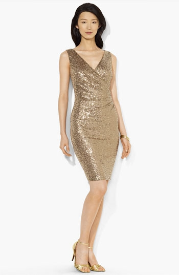 Lauren Ralph Lauren Sequin Ruched Surplice Dress