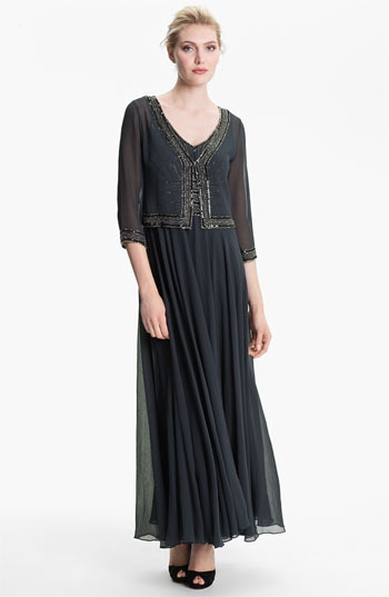 J Kara Sheer Embellished Crepe Gown & Jacket