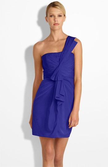 BCBGMAXAZRIA Drape Front One Shoulder Satin Dress