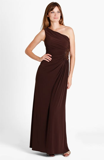 JS Boutique One Shoulder Beaded Medallion Jersey Gown (Petite)