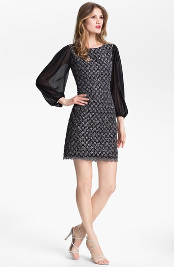 Patra Metallic Lace Sheath Dress (Petite)