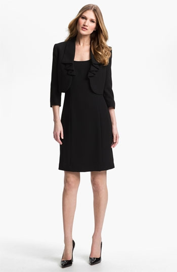 Tahari Strapless Dress & Ruffled Jacket