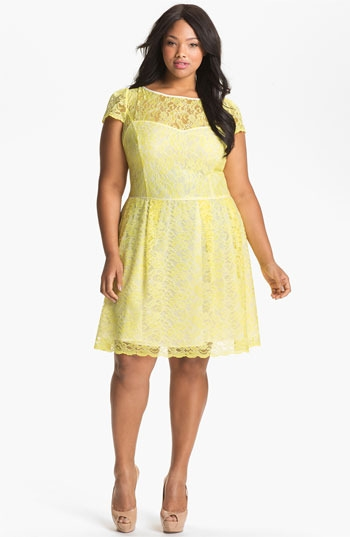 A.B.S. by Allen Schwartz Lace Fit & Flare Dress (Plus) (Online Exclusive)